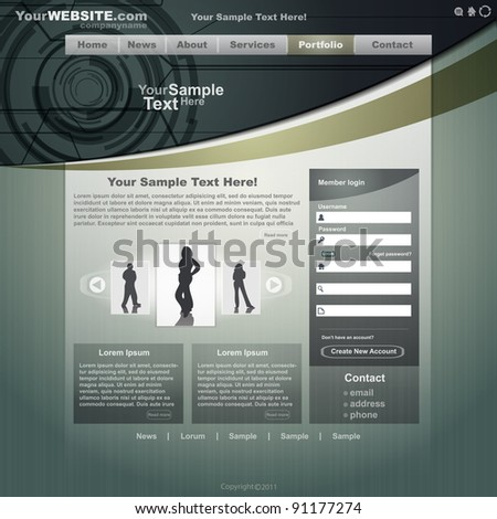Business website template, vector - stock vector
