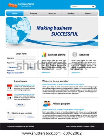 Business website template with illustration of the earth - stock vector