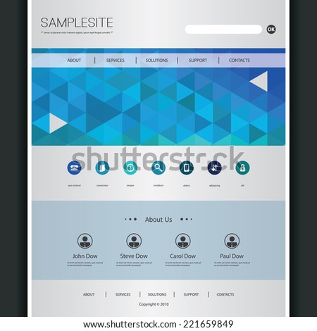 Business Website Template with Triangles Pattern
