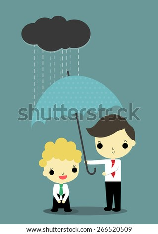 business with depress emotion who has black cloud and rain above his head is helped by businessman who carry umbrella. - stock vector
