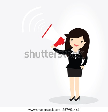 Business woman announcing through megaphone - stock vector