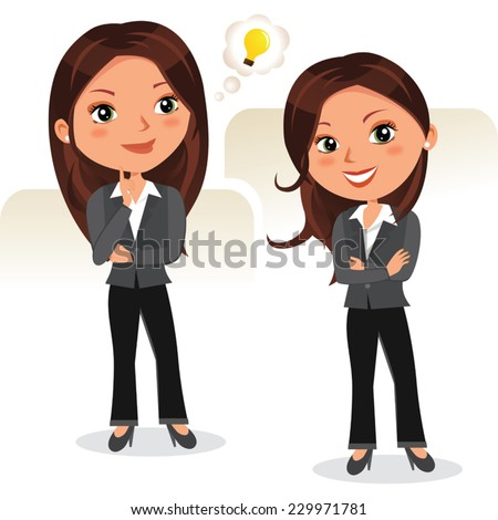 Business woman brainstorming. Vector illustration of beautiful woman in different poses. - stock vector