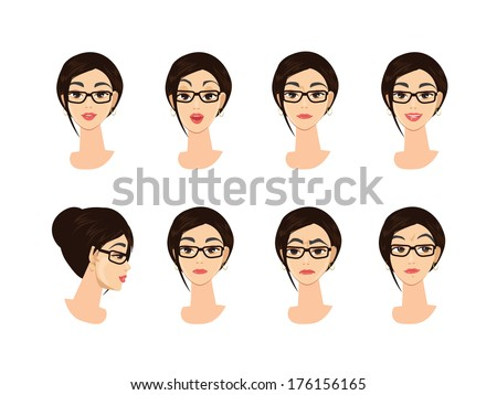 Business Woman Character Emotions - stock vector