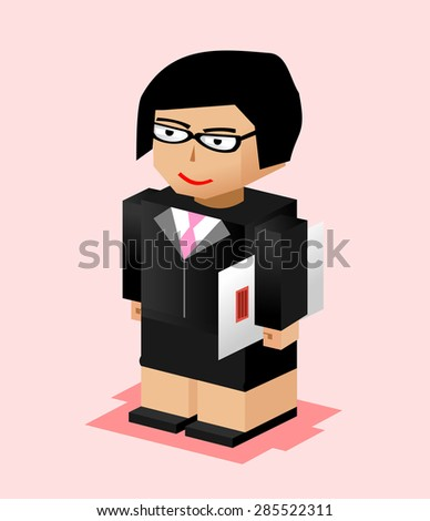 Business woman character illustration. Business woman bring file. Business woman working. Flat design.  - stock vector