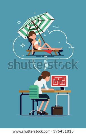 Business woman character overloaded at work dreaming of vacation on beach resort. Cool vector illustration on stressed lady thinking of lying on beach in swim suit, sunbathing and drinking cocktails - stock vector