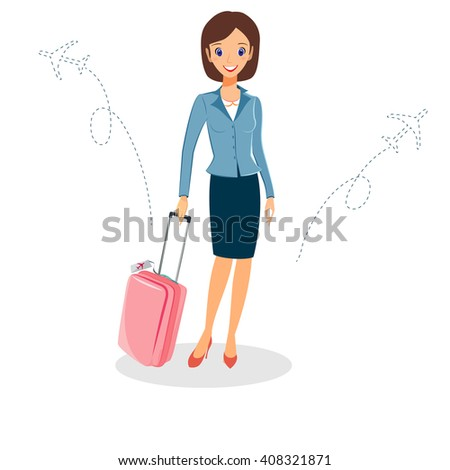 Business woman character vector. Cheerful smiling vector cartoon female character with luggage travelling by plane. Isolated on white background - stock vector