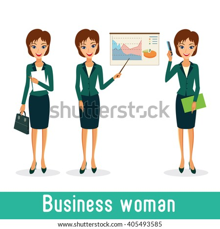 Business woman character vector set. Working female in office. Cheerful smiling business woman character. Woman career collection isolated on white background - stock vector