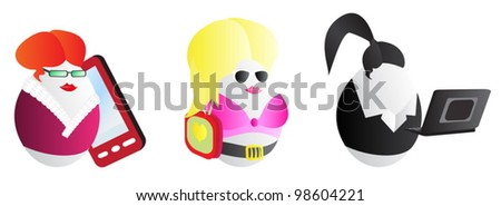Business woman easter eggs - stock vector