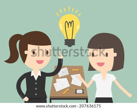 Business woman explaining a financial plan to colleagues at meeting - stock vector