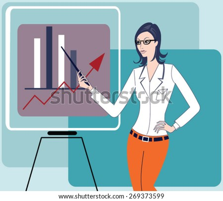 Business Woman holding a training - stock vector