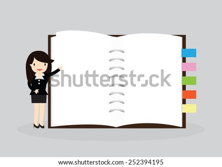 Business woman holding an empty notebook for use in presentations - stock vector