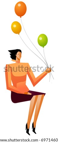 business woman holding baloons - stock vector