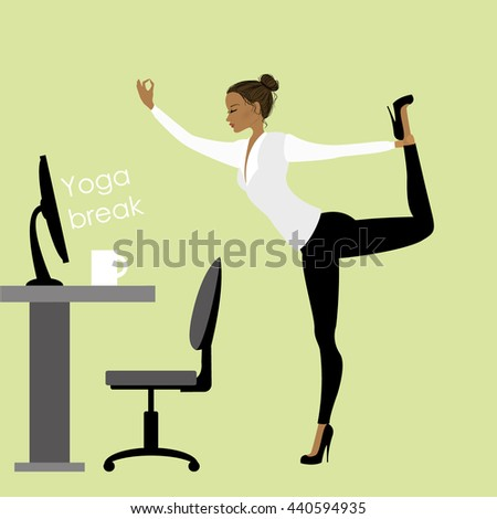 business woman in a yoga pose in the office at work, stock vector illustration