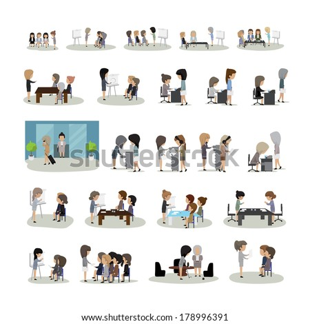 Business Woman In Different Situation Set - Isolated On White Background - Vector Illustration, Graphic Design Editable For Your Design. People On Break In Park - stock vector