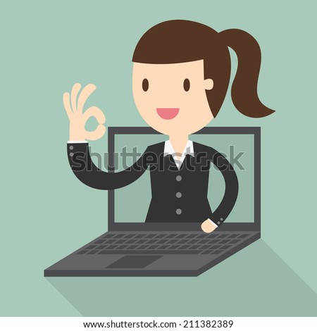Business woman in laptop screen - stock vector