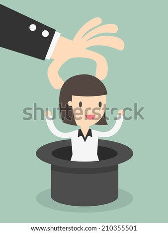 business woman in magic hat  - stock vector