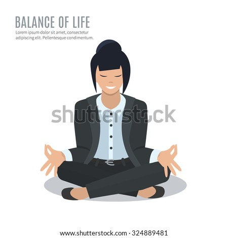 Business woman in yoga pose, vector illustration - stock vector
