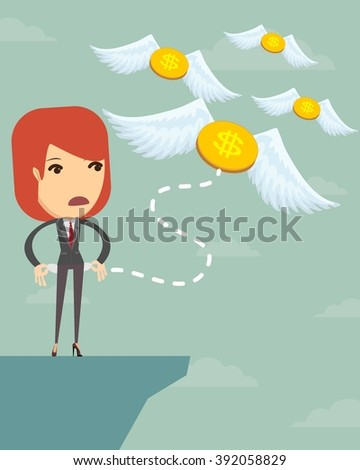 Business woman is losing money, and he flies to nowhere, vector illustration - stock vector