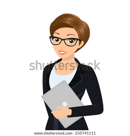 Business woman is wearing black suit isolated on white. - stock vector