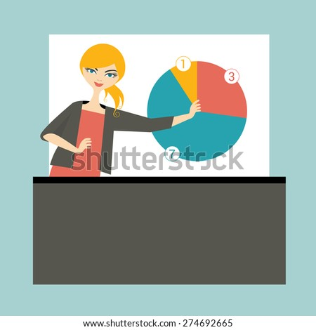 Business woman lector teaching and training people. Flat vector illustration.  - stock vector