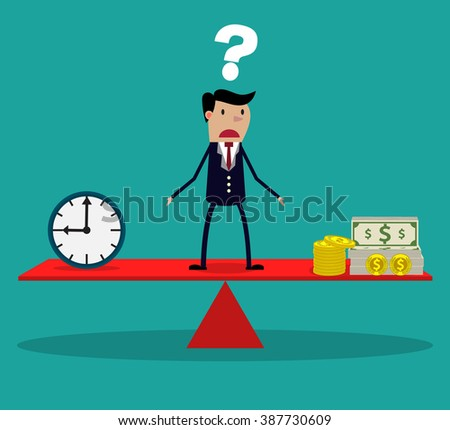 business woman making decision between time or money, time is money concept.  Balancing Time and Money. vector illustration - stock vector