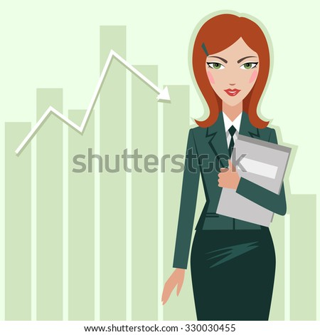 Business woman on the chart sales background - vector illustration - stock vector