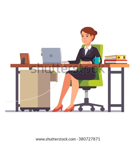 Business woman or a clerk working at her office desk. Flat style modern vector illustration. - stock vector