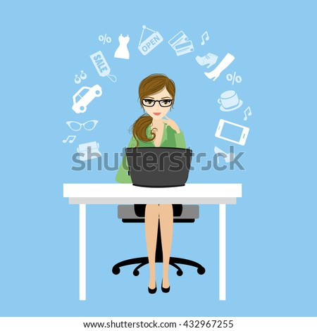 Business woman or office worker sitting at the computer and fashion icons or application,vector illustration