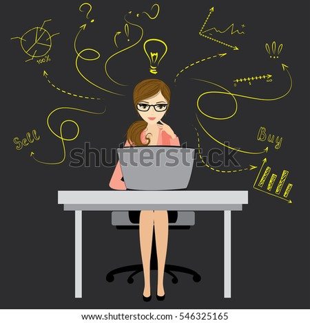 Business woman or office worker sitting at the computer,finance idea concept with doodle signs,vector illustration