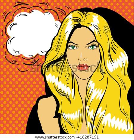 Business woman panics, vector pop art retro comic vintage illustration - stock vector
