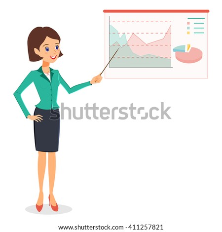 Business woman pointing on graph, diagram. Cheerful smiling woman in business suit making presentation. Vector person character isolated on white background - stock vector