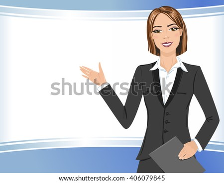Business woman presenting a copy space. Portrait of business lady doing presentation. - stock vector