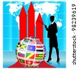 Business woman Presenting Flags Globe.Vector - stock photo