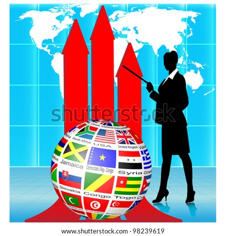 Business woman Presenting Flags Globe.Vector - stock vector
