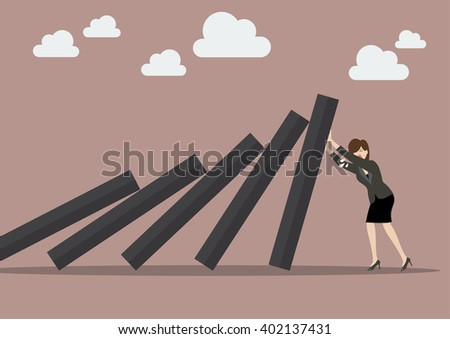 Business woman pushing hard against falling deck of domino tiles. Business Concept - stock vector