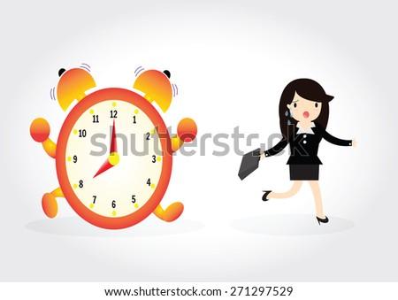 Business woman run follow the clock - stock vector