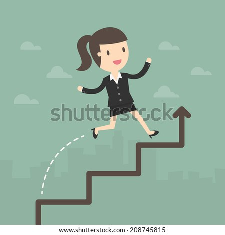 Business Woman run on a Business Growth Chart - stock vector