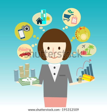Business woman saving and invest money in many asset. Investment concept illustration - stock vector