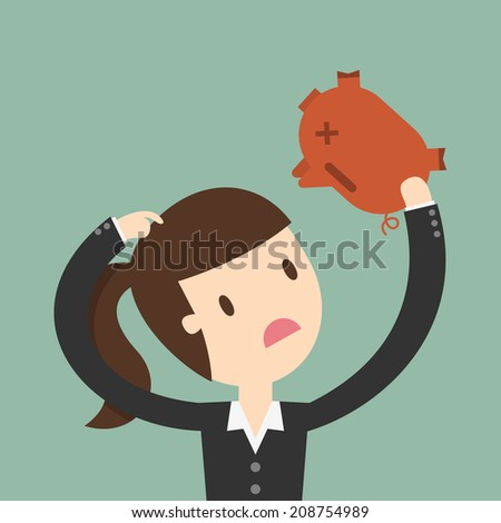 business woman seeing into piggy bank - stock vector