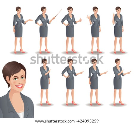 Business woman set. Set of cartoon smiling businesswoman in suit standing in different presentation poses. Vector illustration isolated on white background. - stock vector