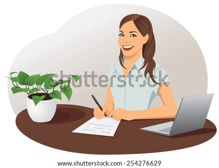 Business woman signs the document with pen at the office - stock vector