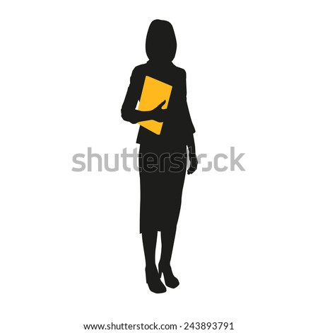 Business woman silhouette with documents - stock vector