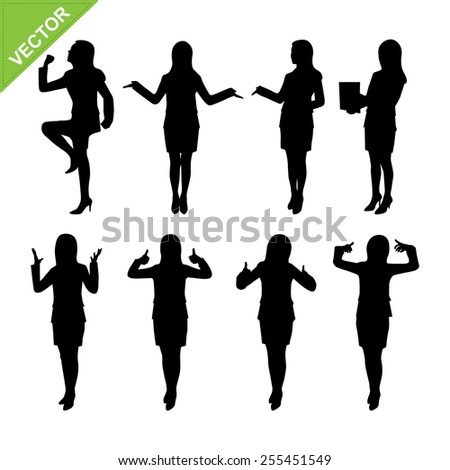 Business woman silhouettes vector - stock vector