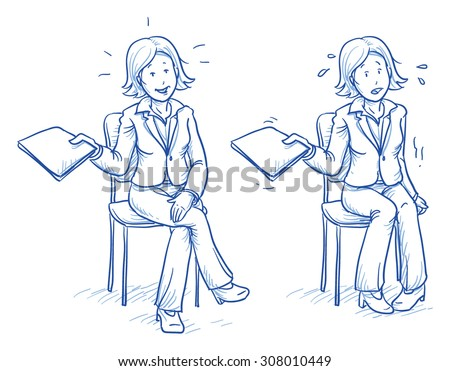 Business woman sitting on chair with e.g. application document in her hand in two emotions, confident and nervous, hand drawn doodle vector illustration - stock vector