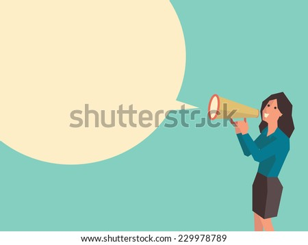 Business woman speaking through megaphone with speech bubble for your text or your design. Flat design with cubic style for character of woman.  - stock vector