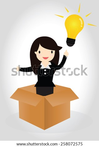 Business woman standing in box with idea lightbulb - stock vector