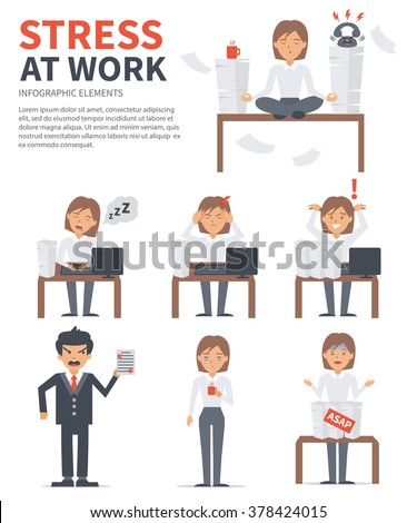 Business woman stress day at work. Vector stress infographic. - stock vector