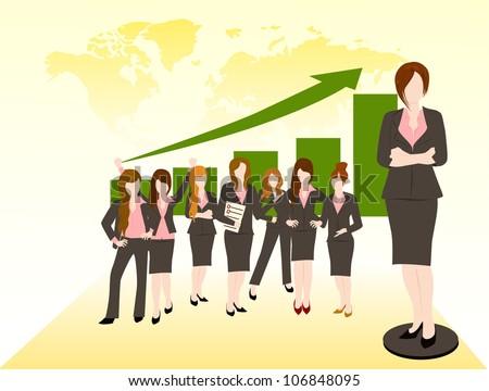 business woman team  success concept - stock vector