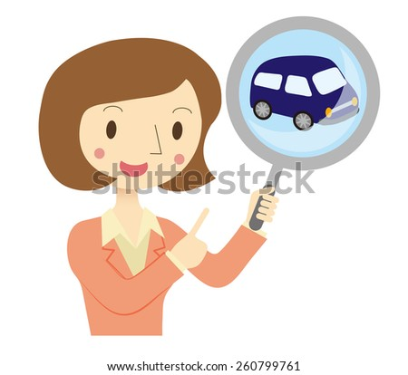 Business Woman to assess the car - stock vector