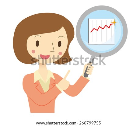 Business Woman to assess the financial - stock vector